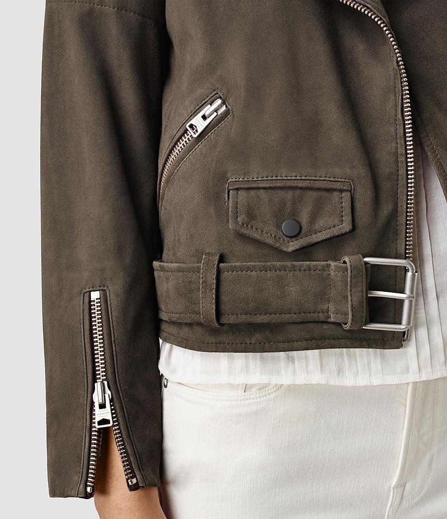 Womens Hitchen Suede Biker Jacket (graphite) - Image 2
