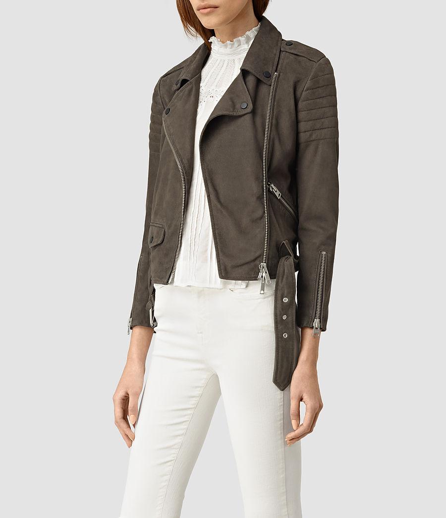 Womens Hitchen Suede Biker Jacket (graphite) - Image 3