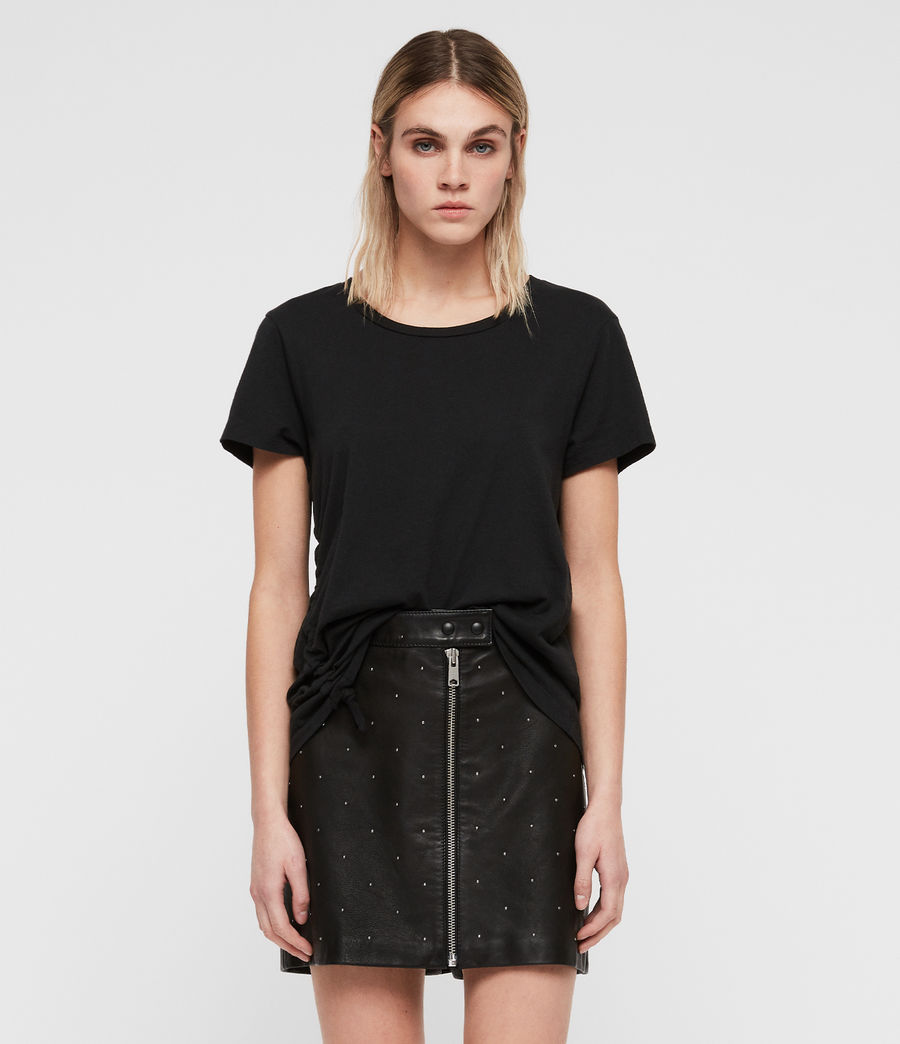 Women's Lena Stud Leather Skirt (black) - Image 1