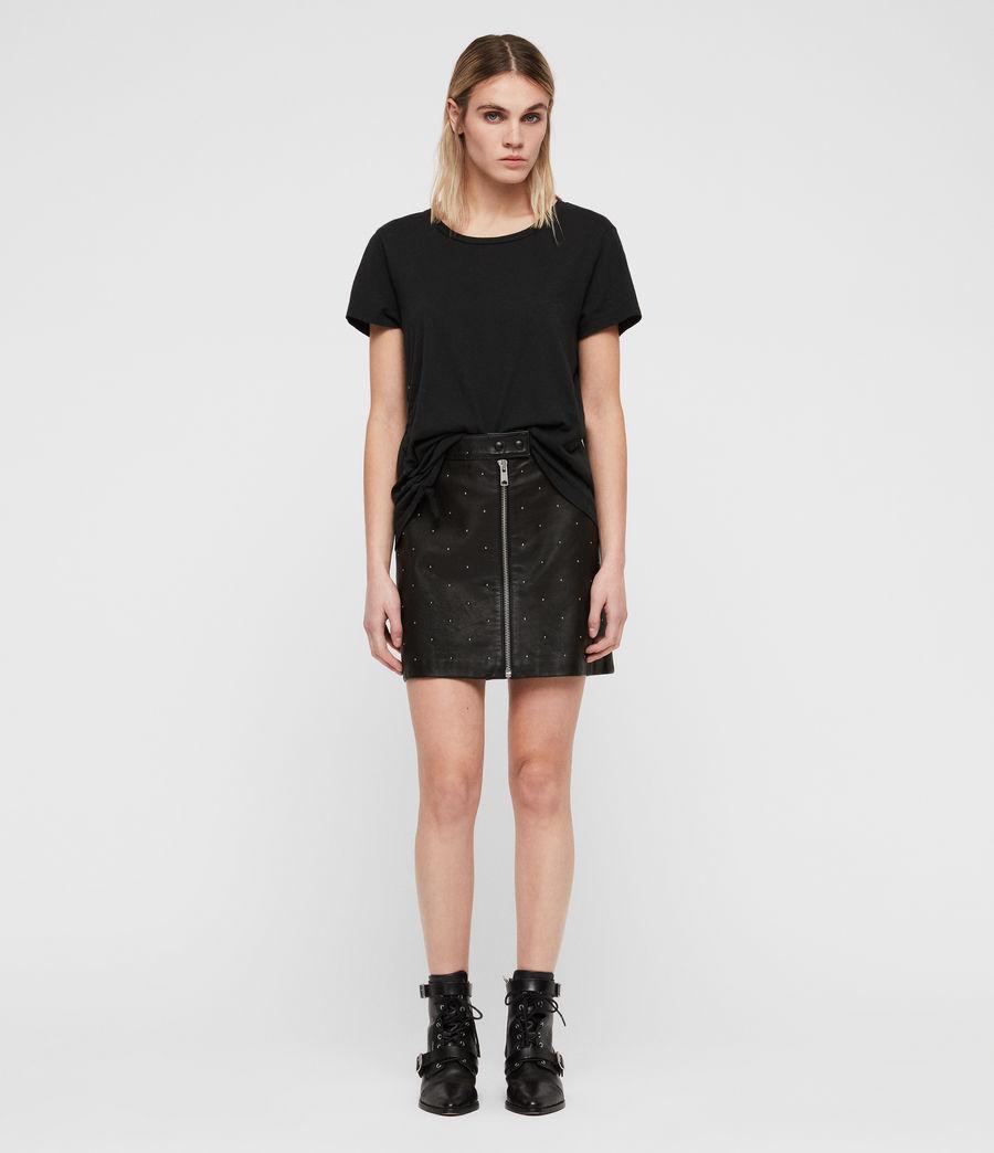 Women's Lena Stud Leather Skirt (black) - Image 3
