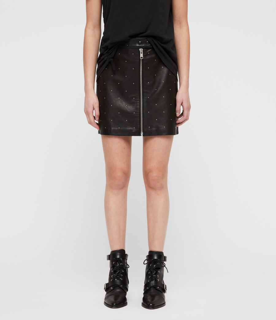 Women's Lena Stud Leather Skirt (black) - Image 4