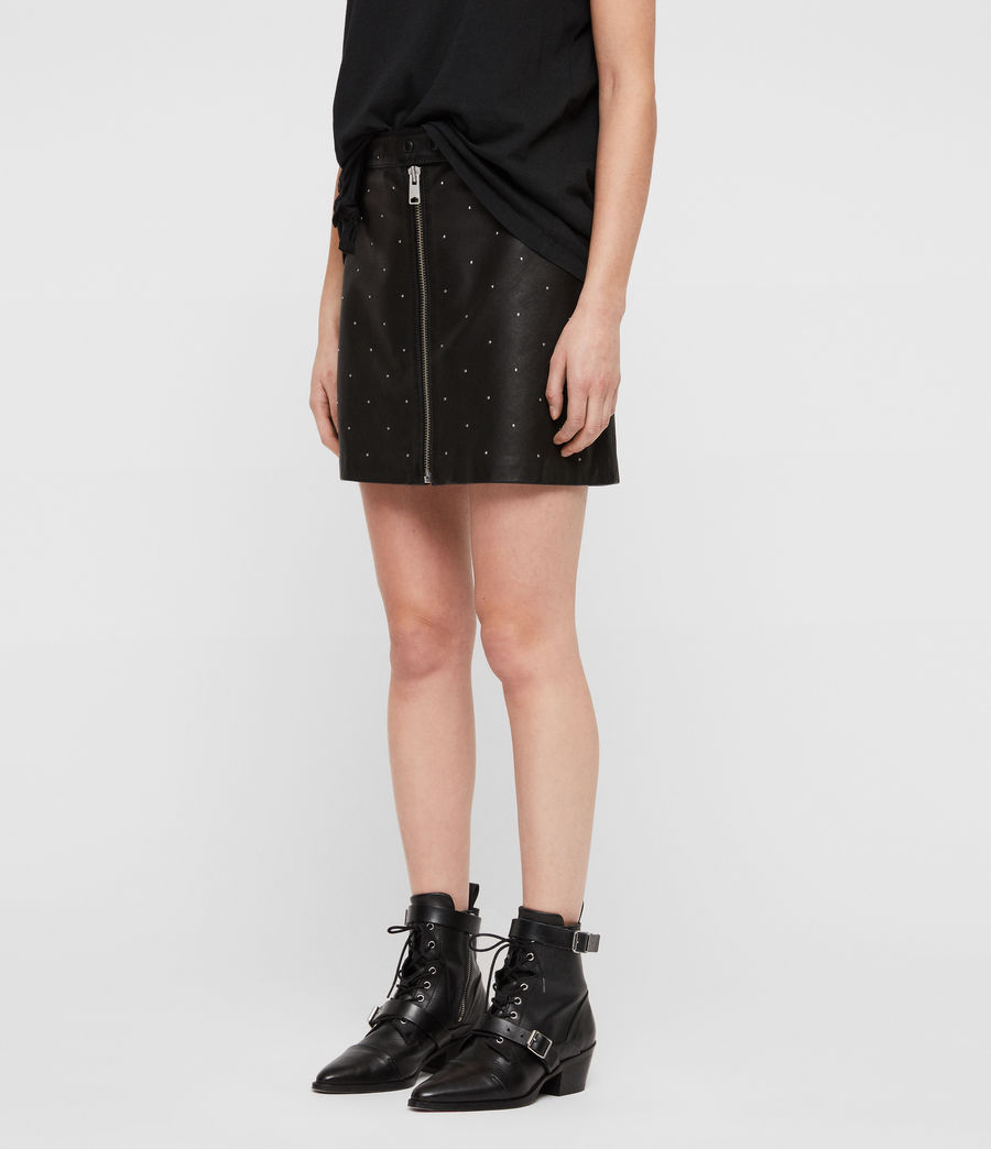 Women's Lena Stud Leather Skirt (black) - Image 5