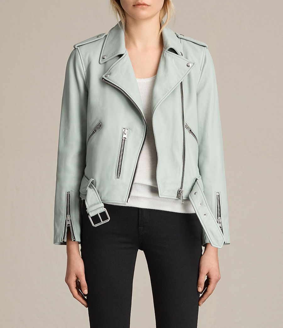 Womens Balfern Leather Biker Jacket (luna_blue) - Image 1