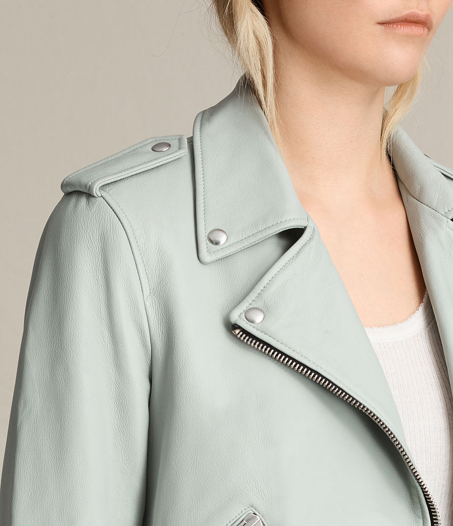 Womens Balfern Leather Biker Jacket (luna_blue) - Image 2