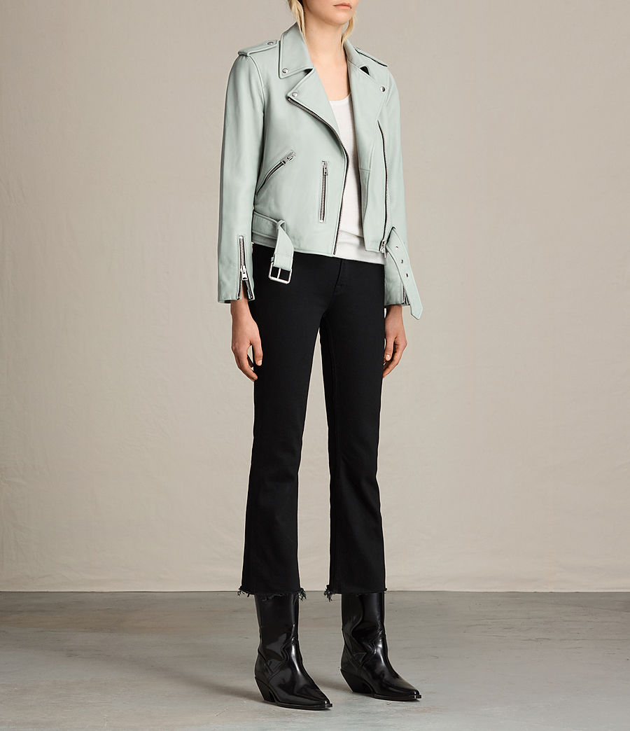 Womens Balfern Leather Biker Jacket (luna_blue) - Image 3