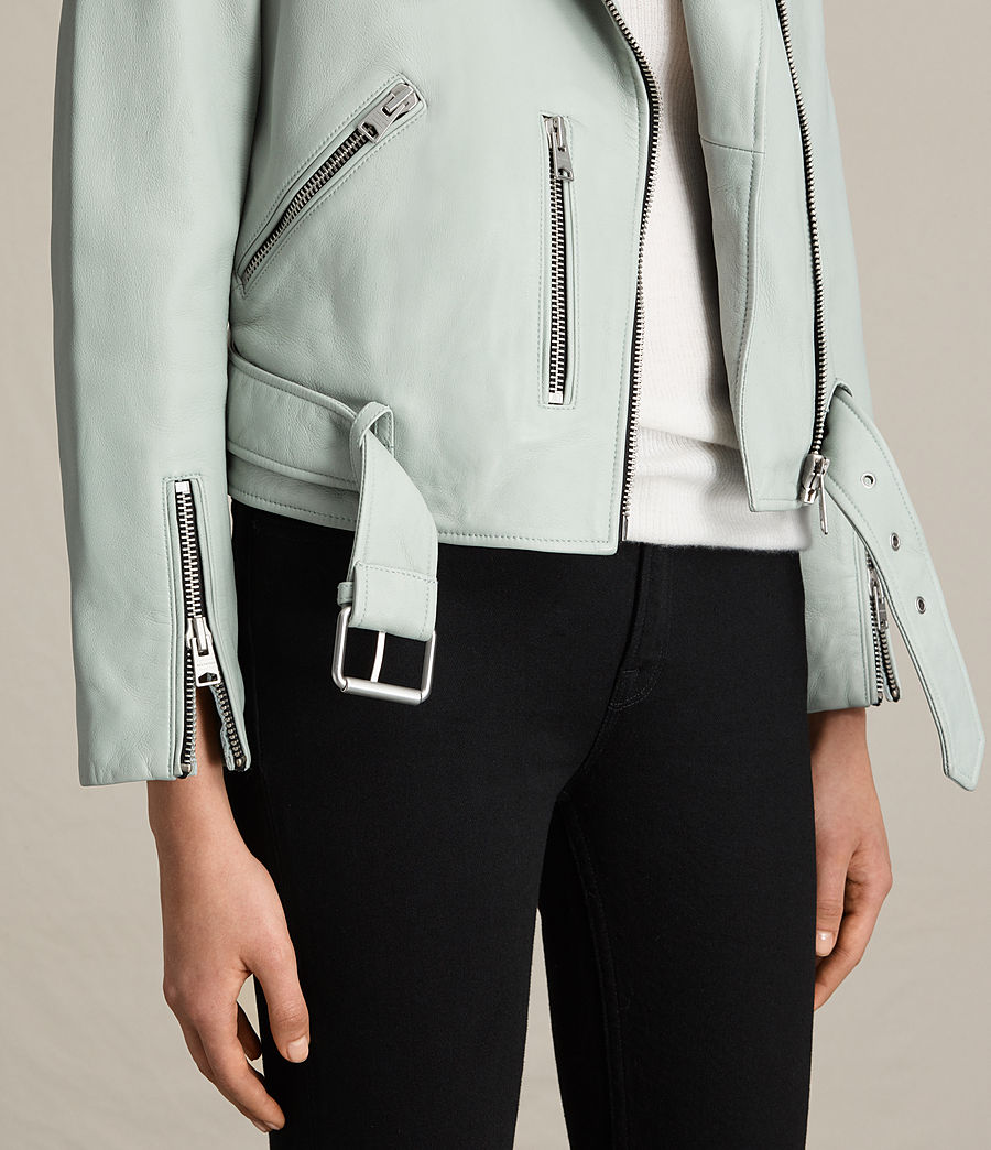 Womens Balfern Leather Biker Jacket (luna_blue) - Image 4