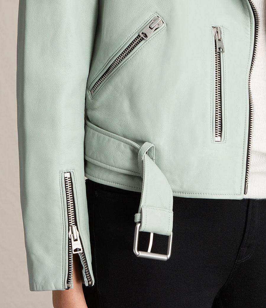 Womens Balfern Leather Biker Jacket (luna_blue) - Image 6