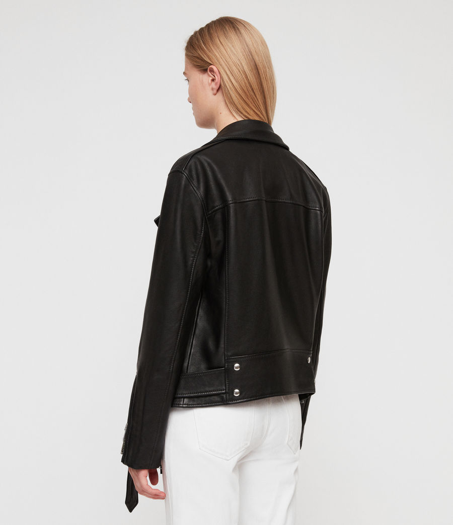 Women's Billie Leather Biker Jacket (black) - Image 10