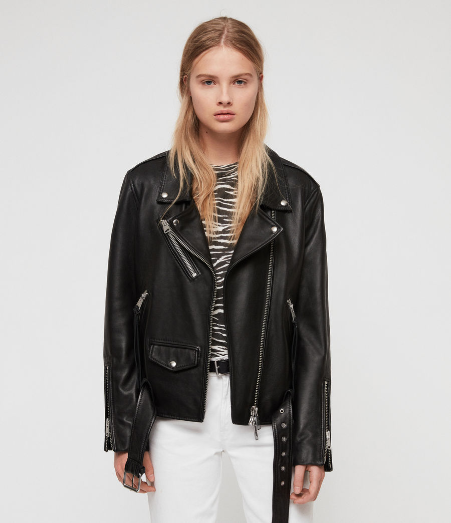Womens Billie Leather Biker Jacket (black) - Image 2