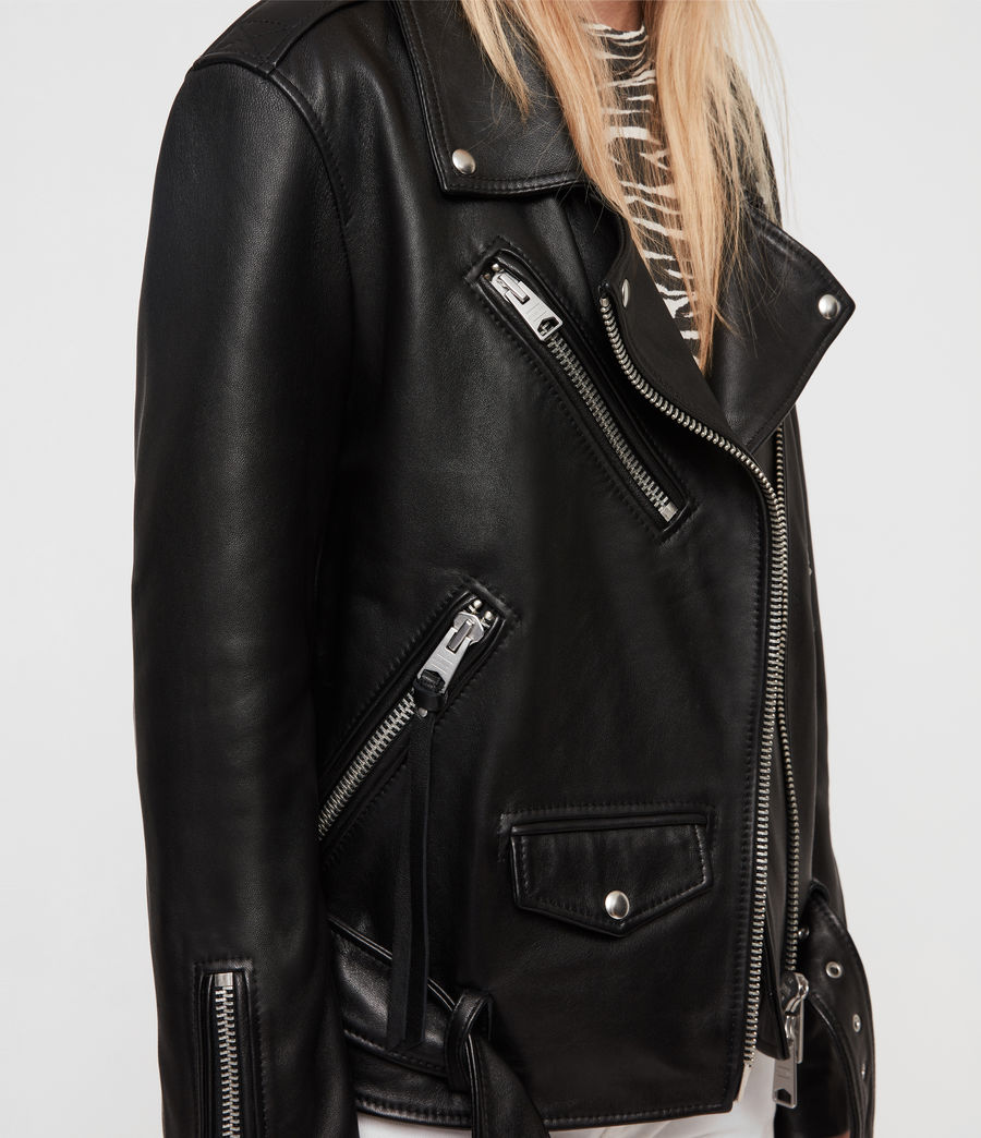Womens Billie Leather Biker Jacket (black) - Image 5