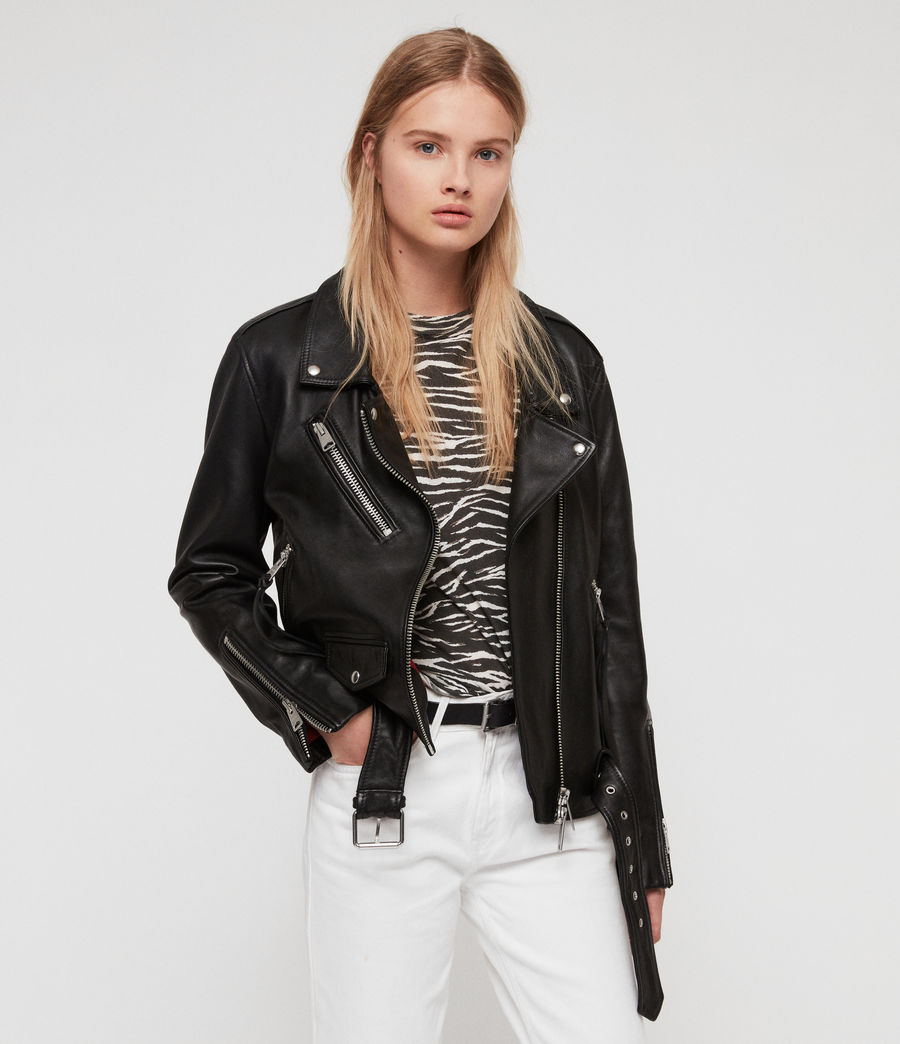 Womens Billie Leather Biker Jacket (black) - Image 7