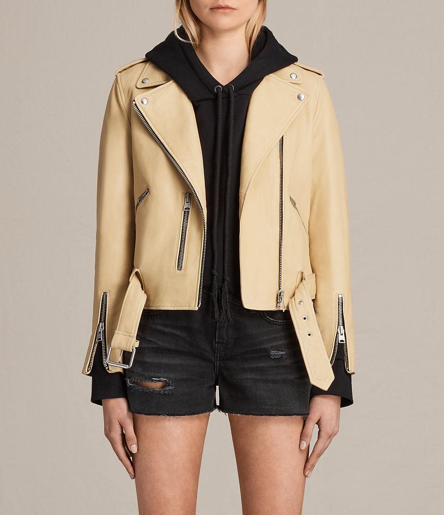 Womens Balfern Leather Biker Jacket (lemon_yellow) - Image 1