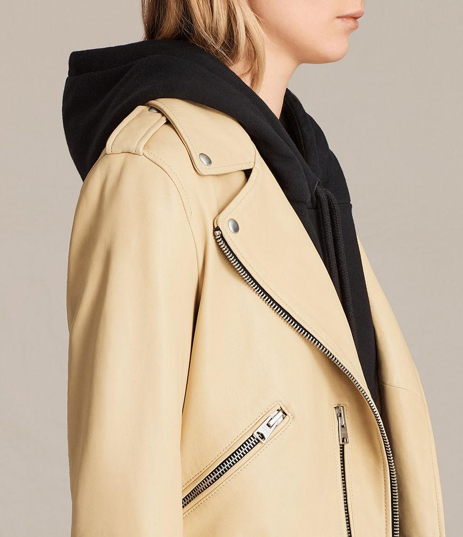 Womens Balfern Leather Biker Jacket (lemon_yellow) - Image 2