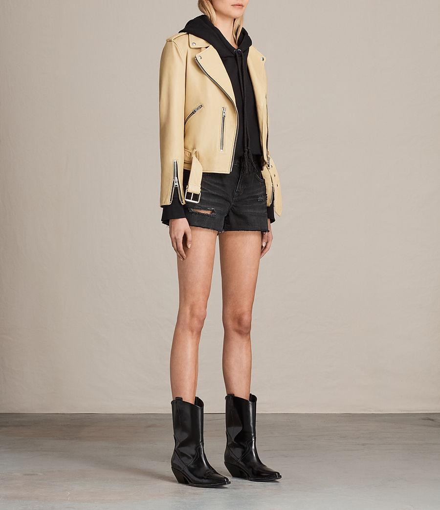 Womens Balfern Leather Biker Jacket (lemon_yellow) - Image 3