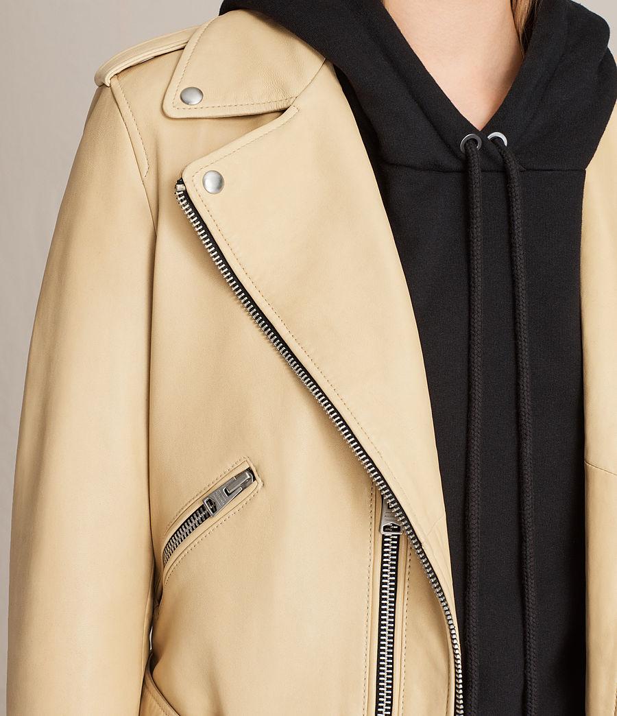 Womens Balfern Leather Biker Jacket (lemon_yellow) - Image 4