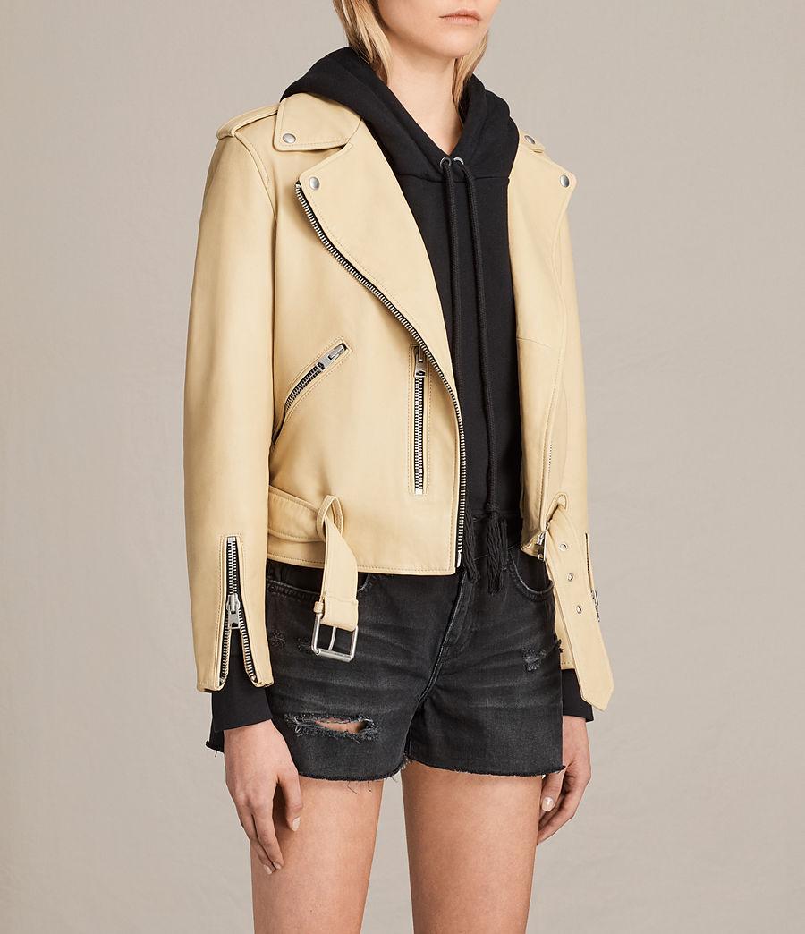 Womens Balfern Leather Biker Jacket (lemon_yellow) - Image 5