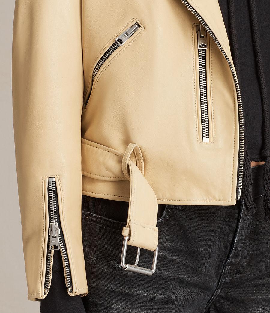 Womens Balfern Leather Biker Jacket (lemon_yellow) - Image 6