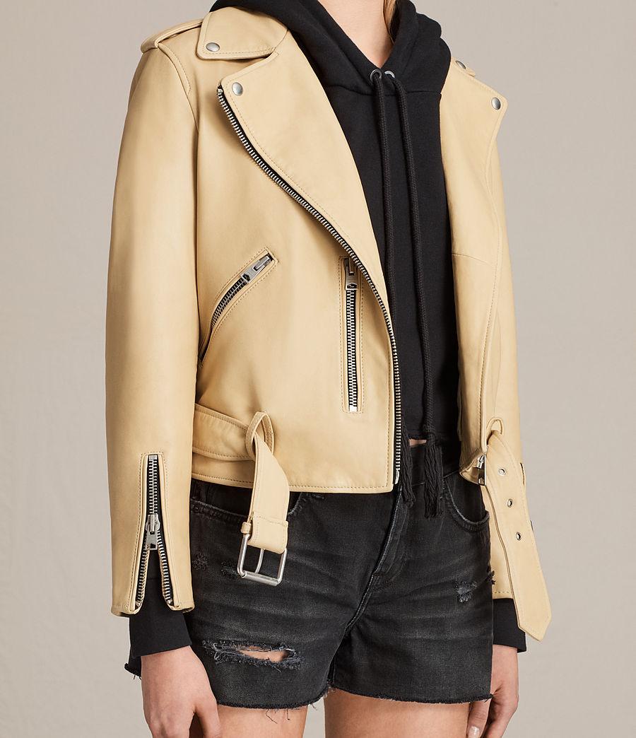 Womens Balfern Leather Biker Jacket (lemon_yellow) - Image 7