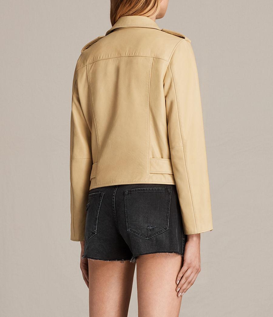 Womens Balfern Leather Biker Jacket (lemon_yellow) - Image 8