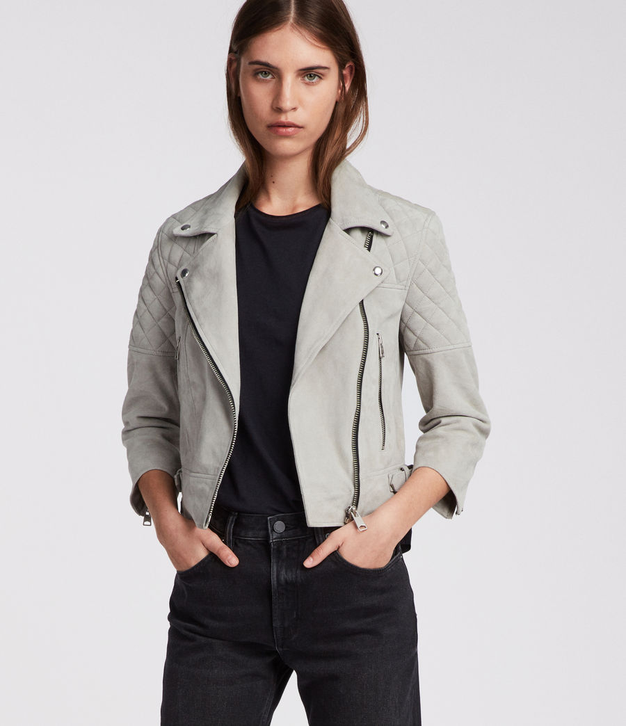 Women's Beattie Suede Biker Jacket (pebble_grey) - Image 1