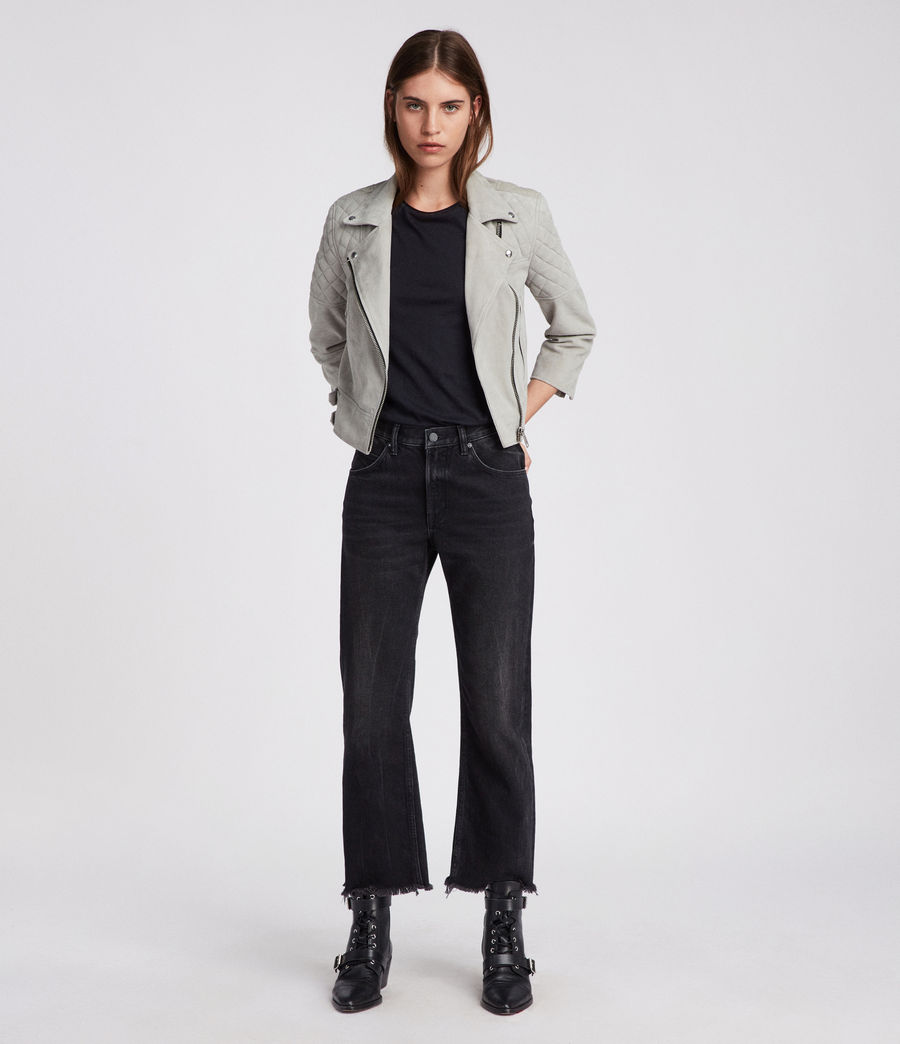 Women's Beattie Suede Biker Jacket (pebble_grey) - Image 2