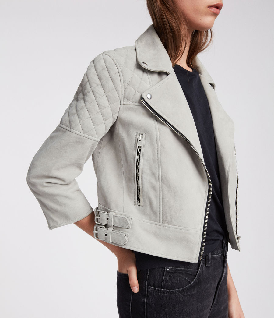 Women's Beattie Suede Biker Jacket (pebble_grey) - Image 3