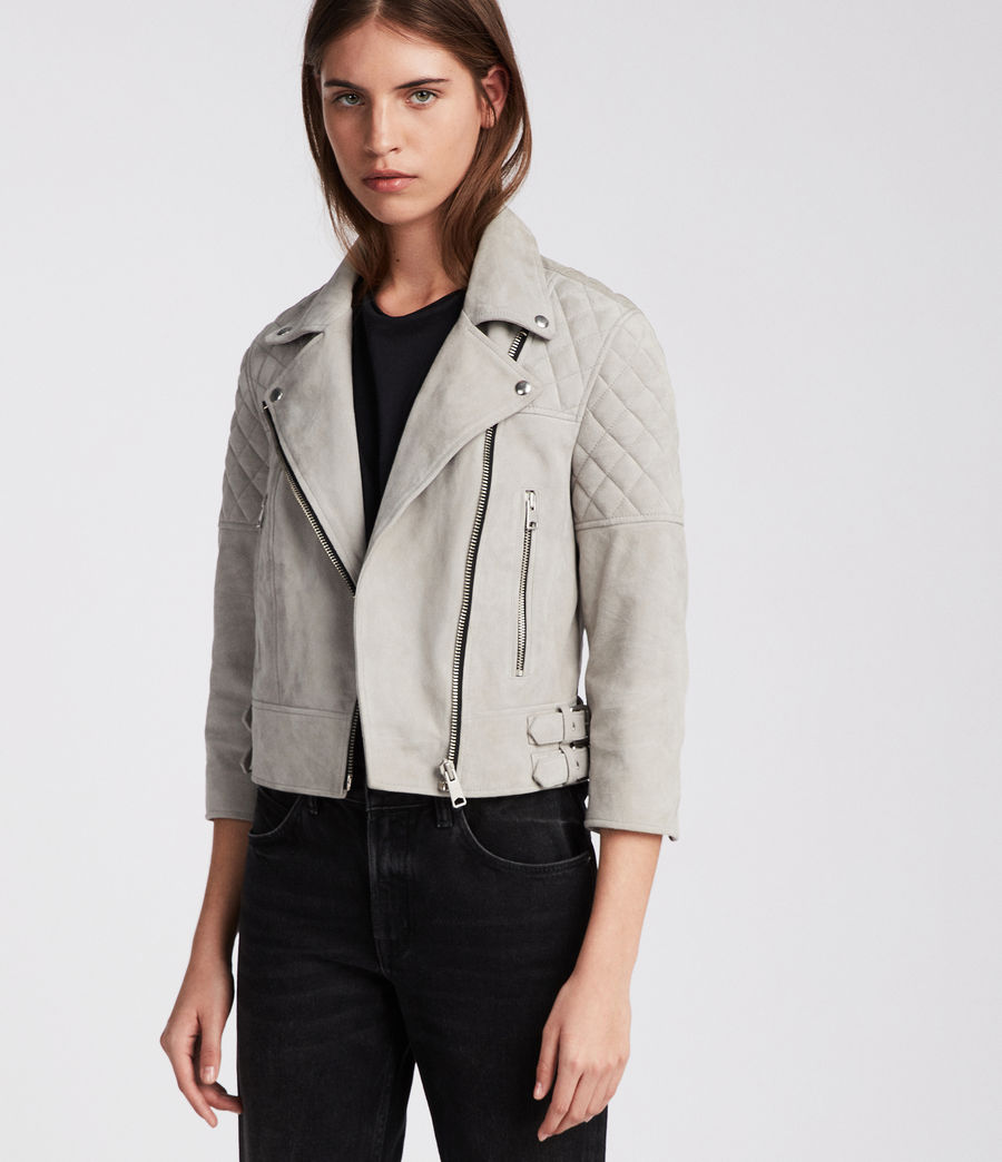 Women's Beattie Suede Biker Jacket (pebble_grey) - Image 4