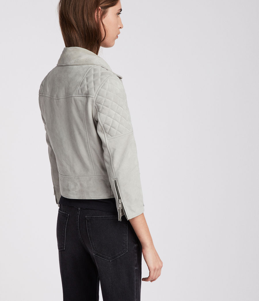 Women's Beattie Suede Biker Jacket (pebble_grey) - Image 5