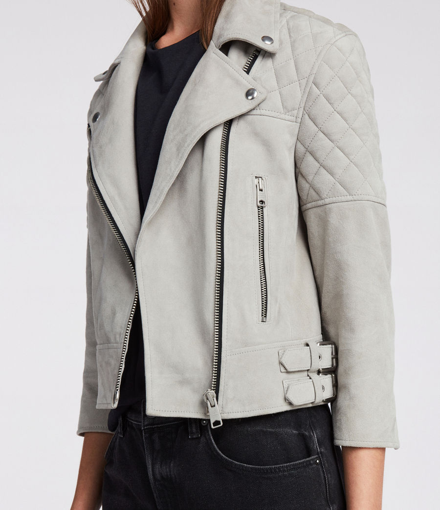 Women's Beattie Suede Biker Jacket (pebble_grey) - Image 6