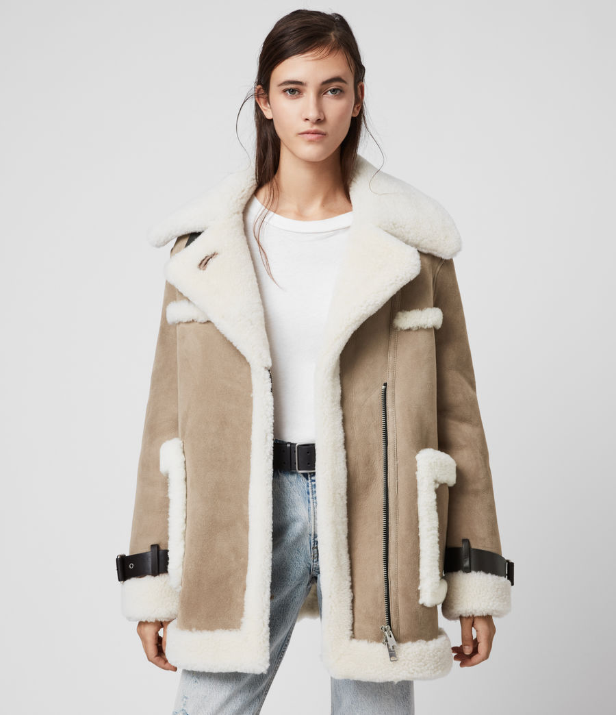 Women's Bronx Shearling Coat (taupe_chalk_white) - Image 1