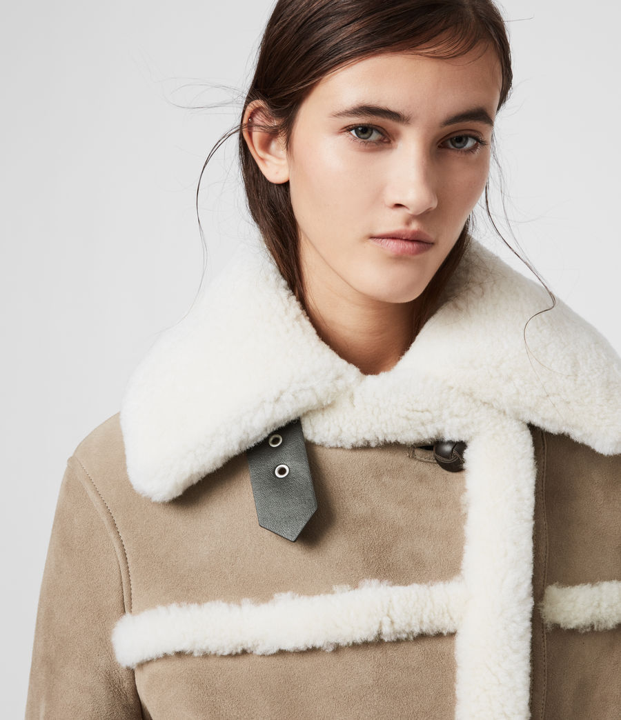 Women's Bronx Shearling Coat (taupe_chalk_white) - Image 2