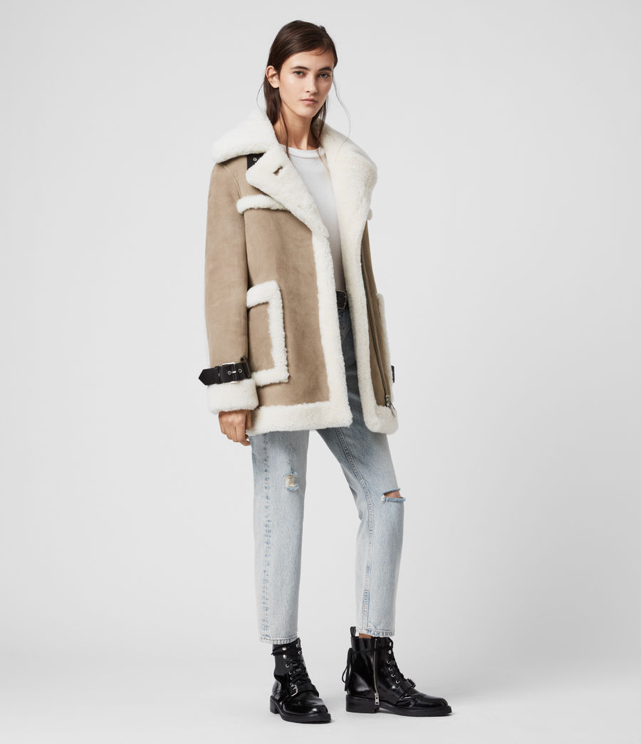 Women's Bronx Shearling Coat (taupe_chalk_white) - Image 3