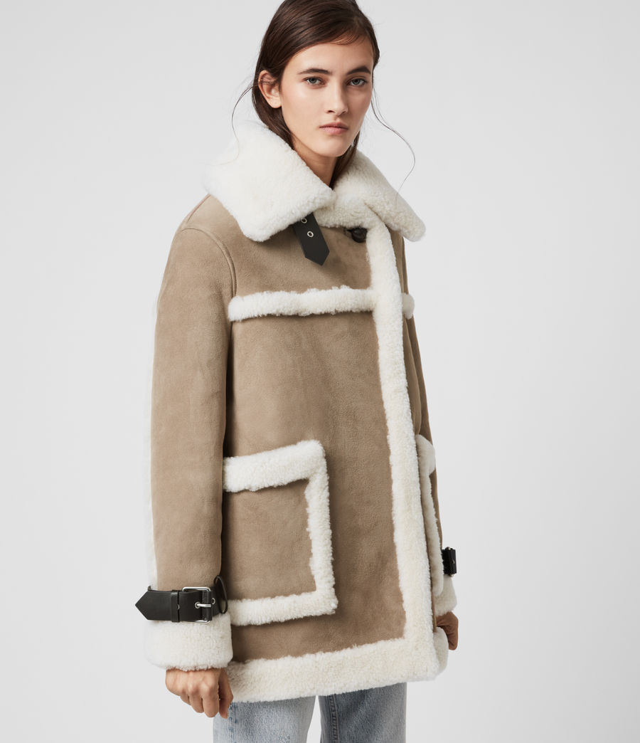 Women's Bronx Shearling Coat (taupe_chalk_white) - Image 4