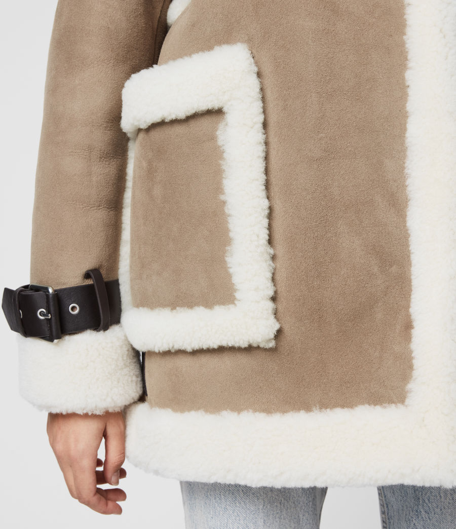 Women's Bronx Shearling Coat (taupe_chalk_white) - Image 5