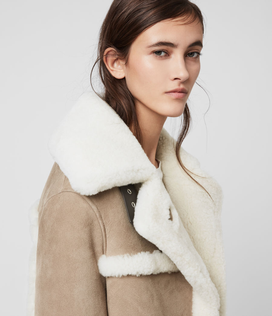 Women's Bronx Shearling Coat (taupe_chalk_white) - Image 6