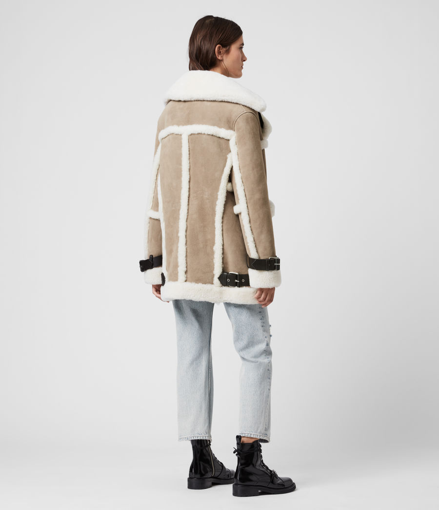 Women's Bronx Shearling Coat (taupe_chalk_white) - Image 7