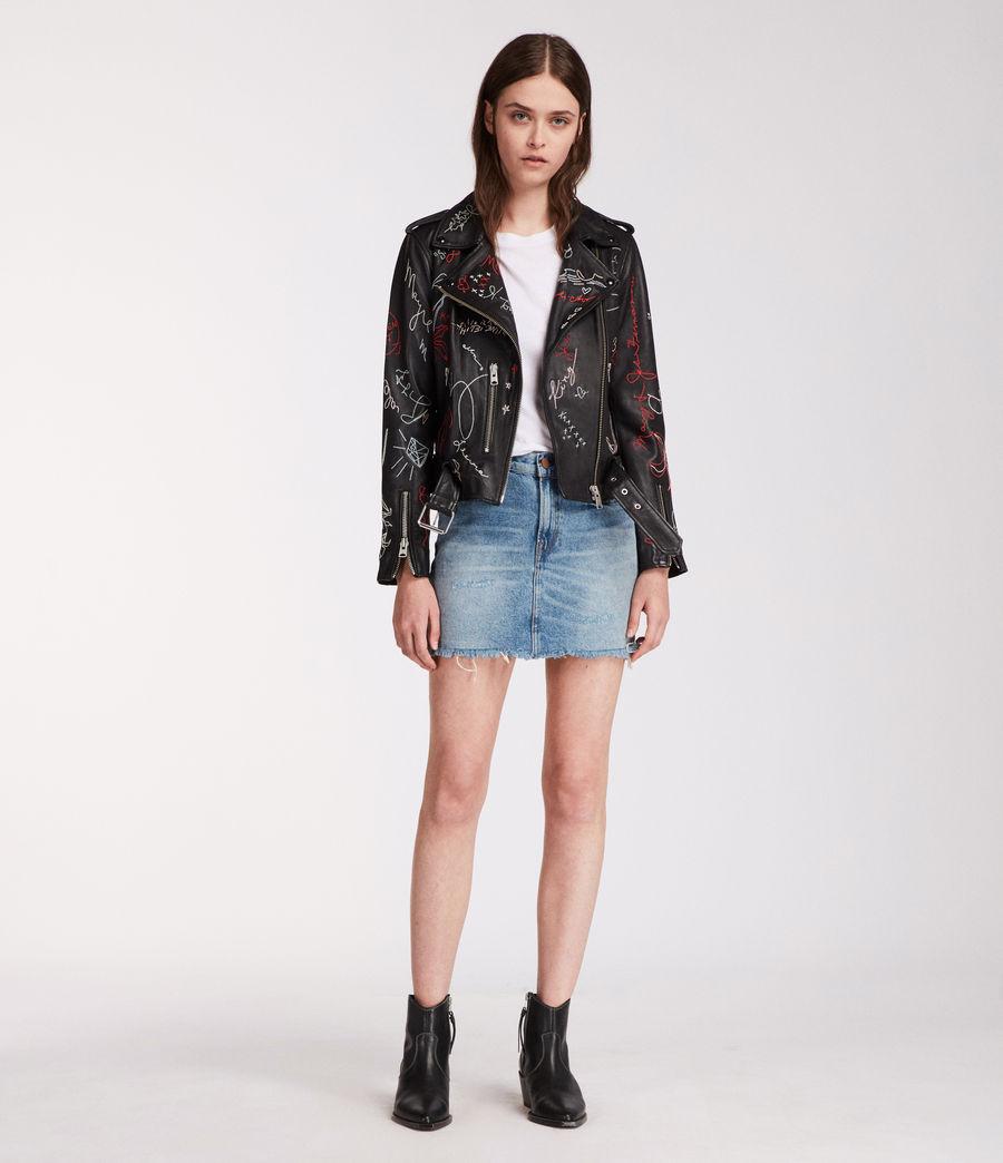 Womens Graff Balfern Leather Biker Jacket (black) - Image 3