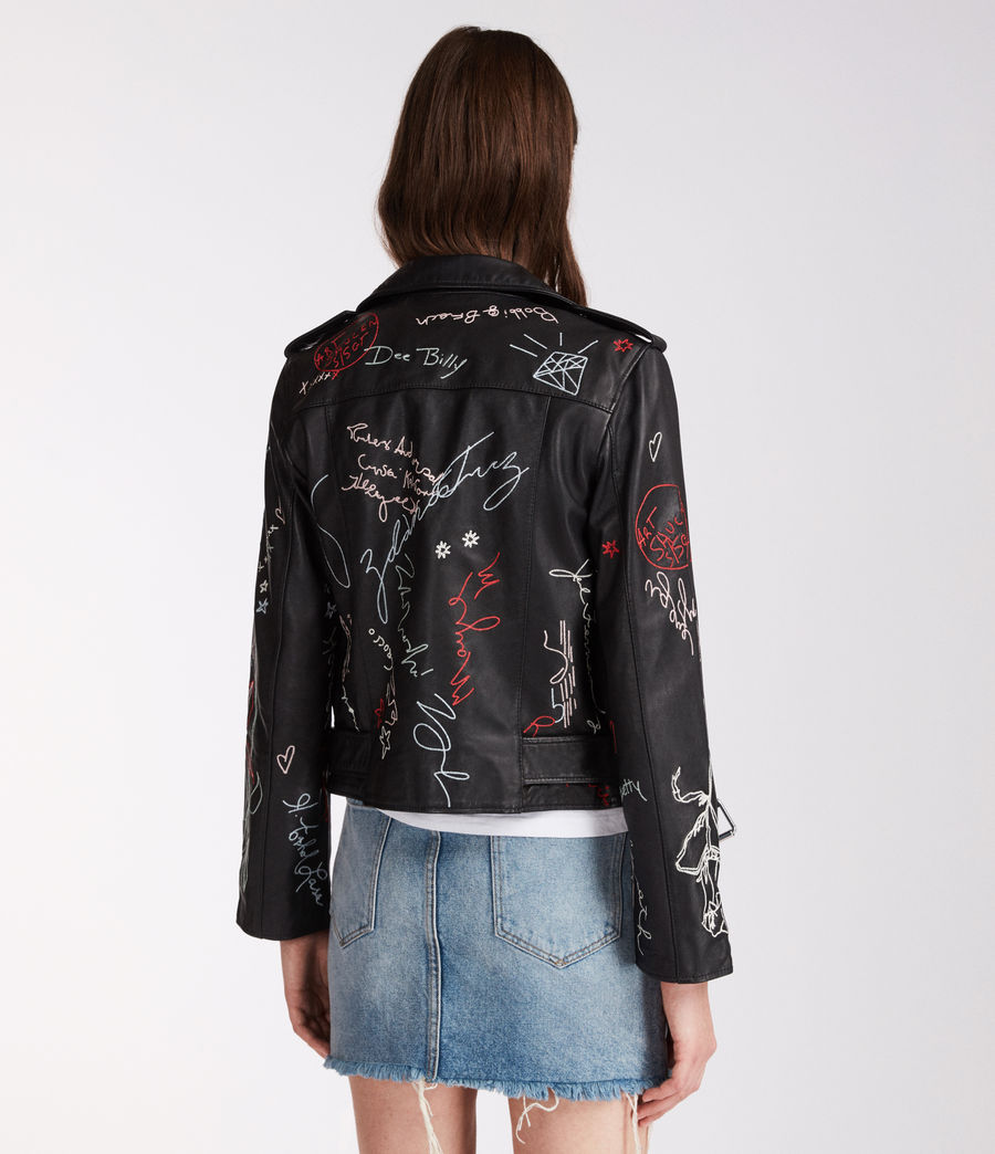 Womens Graff Balfern Leather Biker Jacket (black) - Image 4