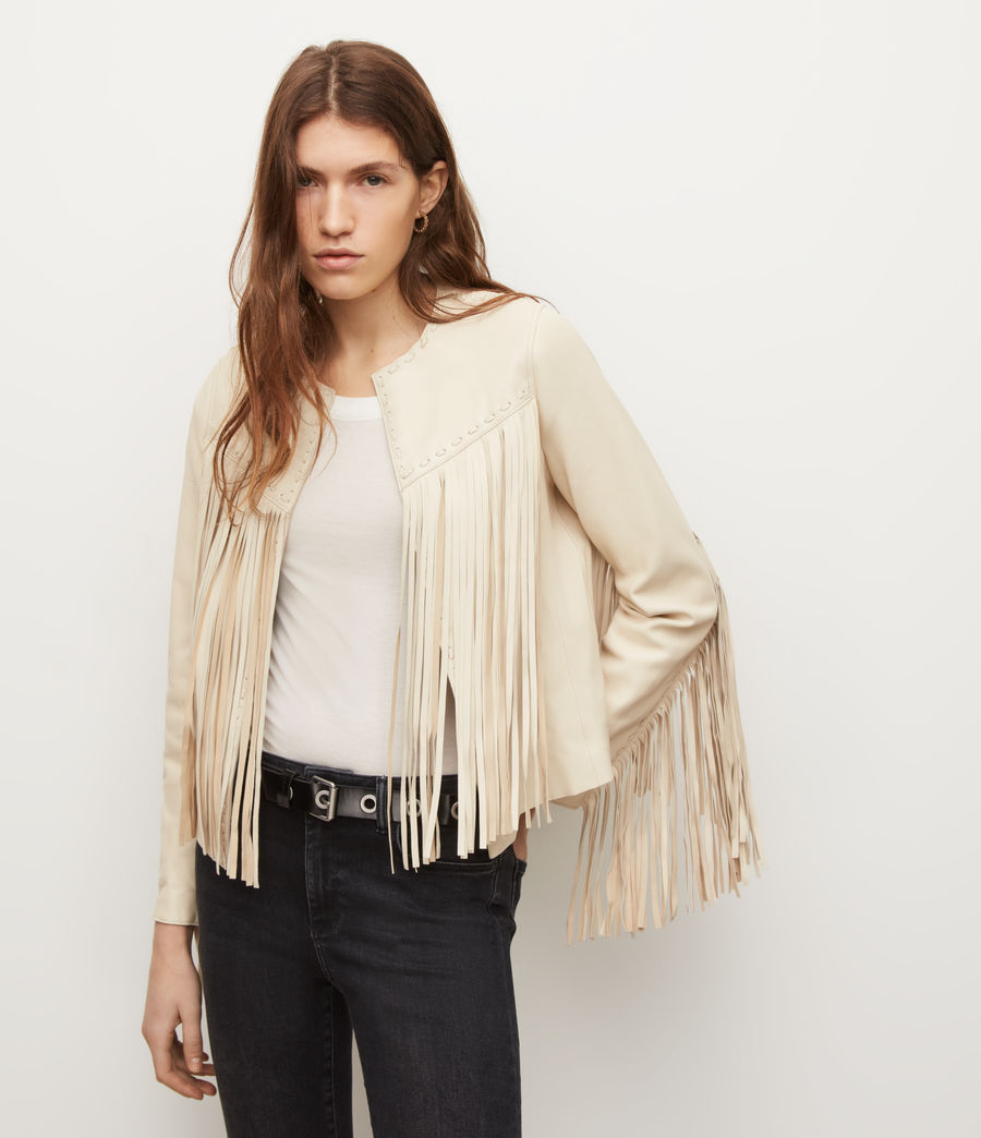 Women's Astral Leather Tassel Jacket (off_white) - Image 1