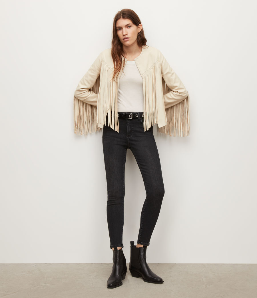 Women's Astral Leather Tassel Jacket (off_white) - Image 3