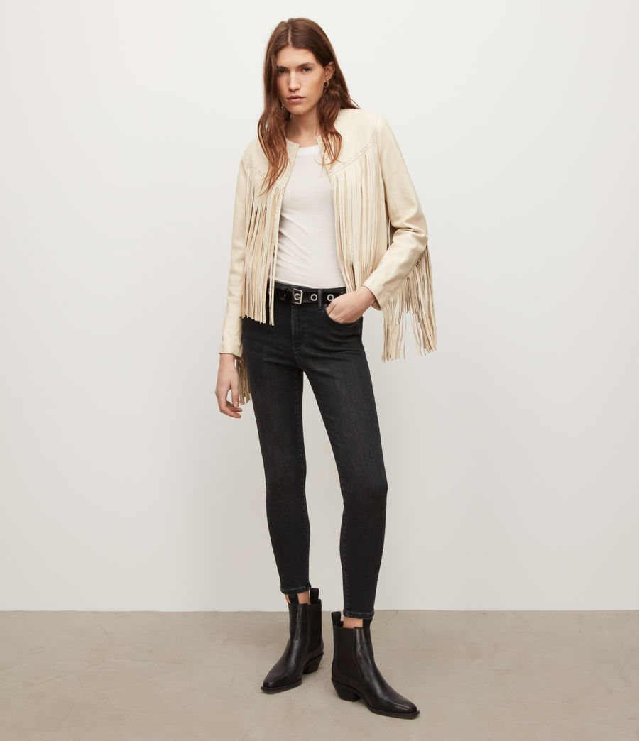 Women's Astral Leather Tassel Jacket (off_white) - Image 4