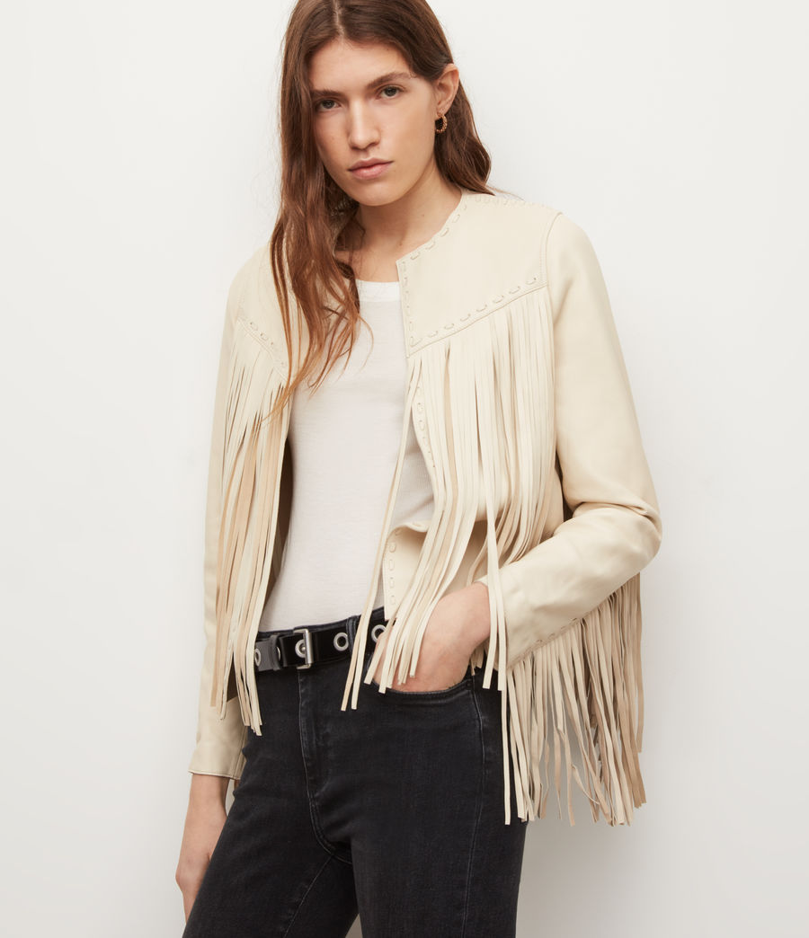 Women's Astral Leather Tassel Jacket (off_white) - Image 5