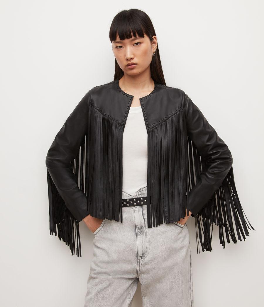 Womens Astral Leather Tassel Jacket (black) - Image 1