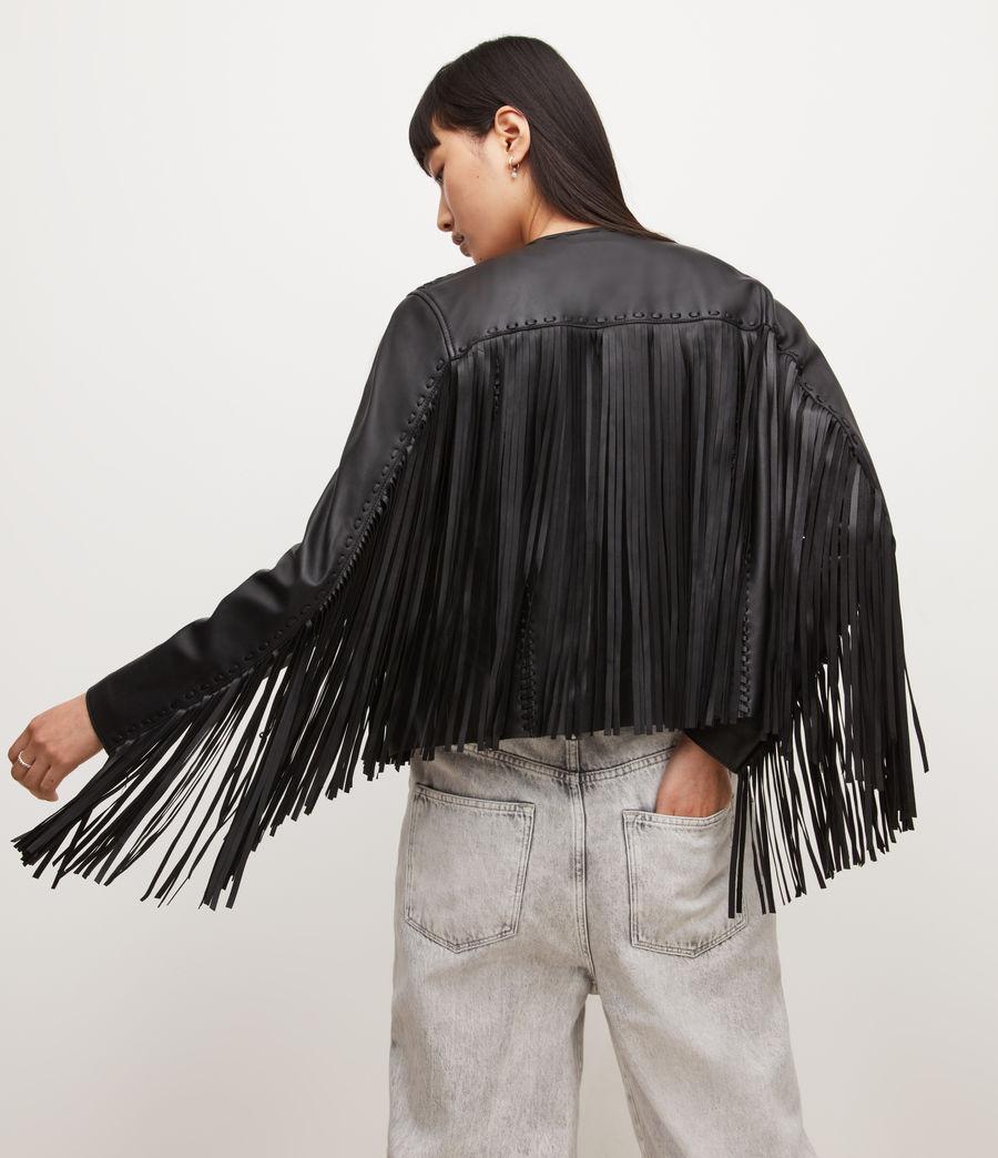 Womens Astral Leather Tassel Jacket (black) - Image 2