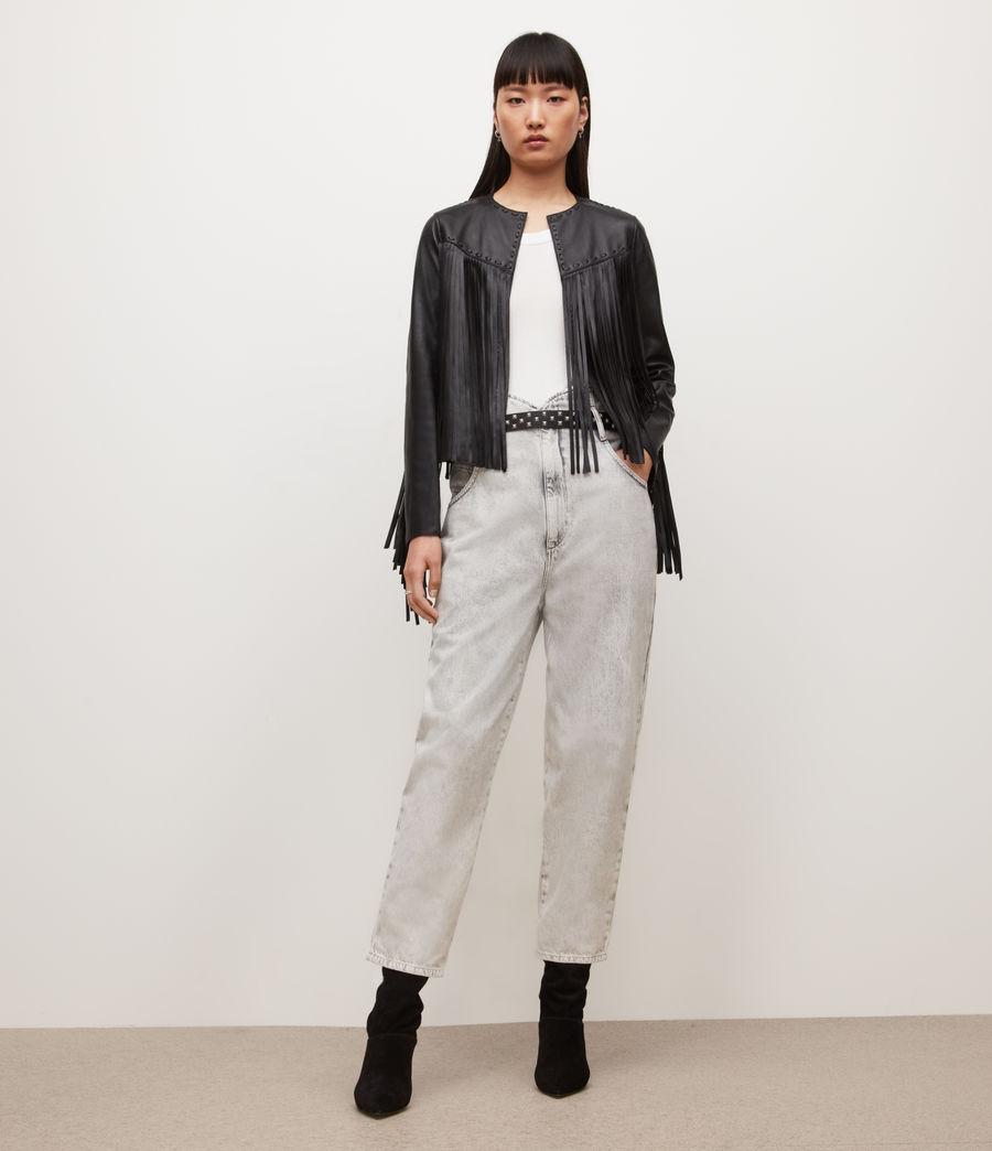 Womens Astral Leather Tassel Jacket (black) - Image 3