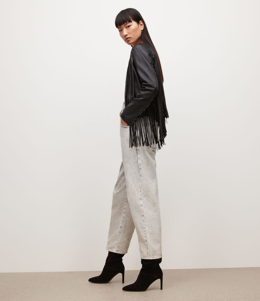 Womens Astral Leather Tassel Jacket (black) - Image 5
