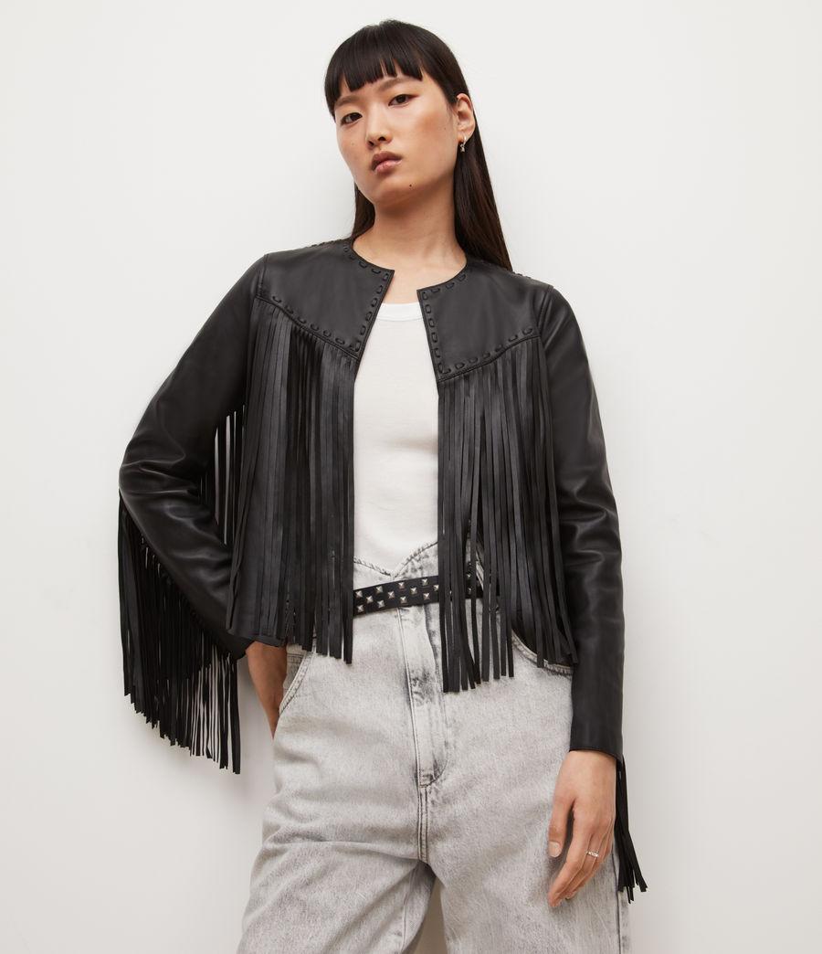 Womens Astral Leather Tassel Jacket (black) - Image 6