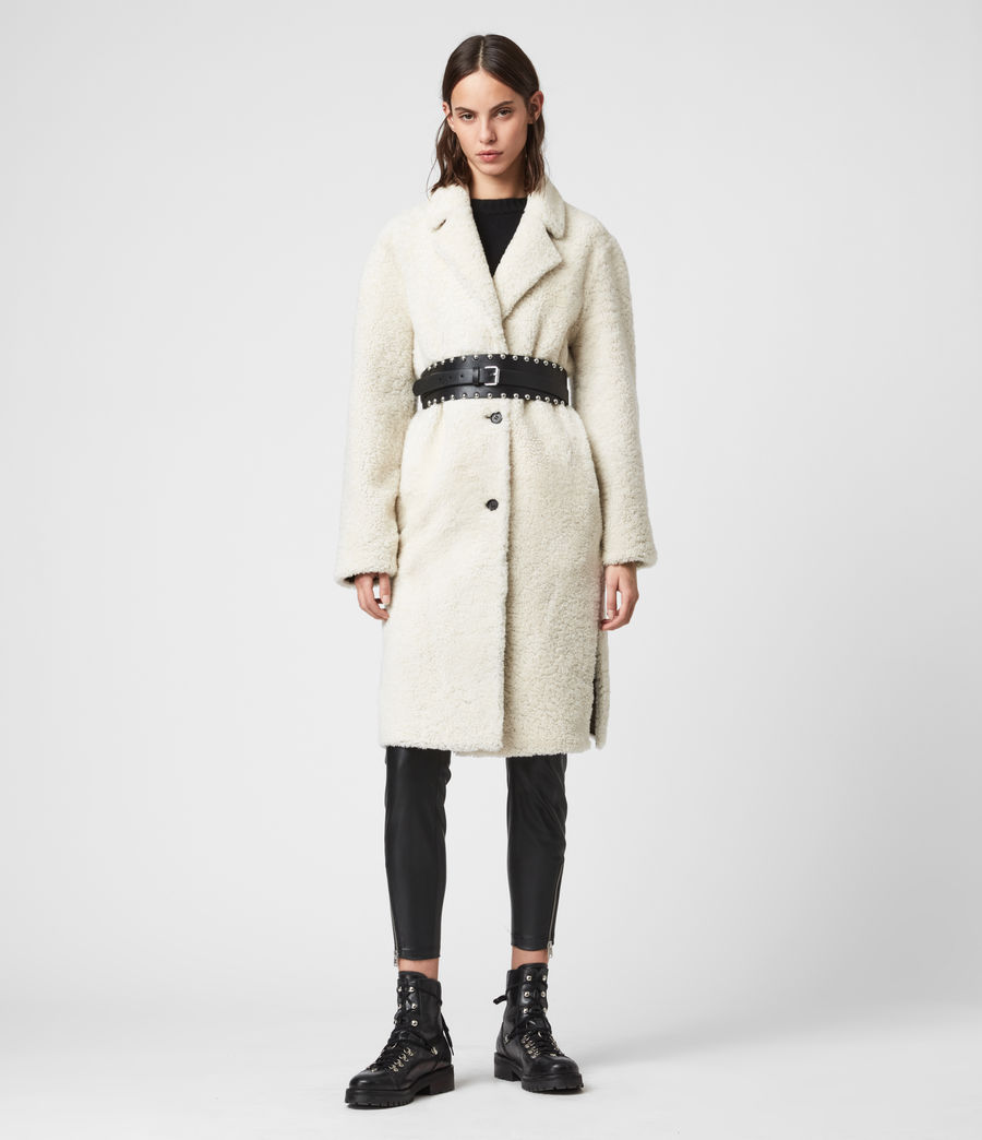 Women's Tia Reversible Shearling Coat (chalk_white_taupe) - Image 1
