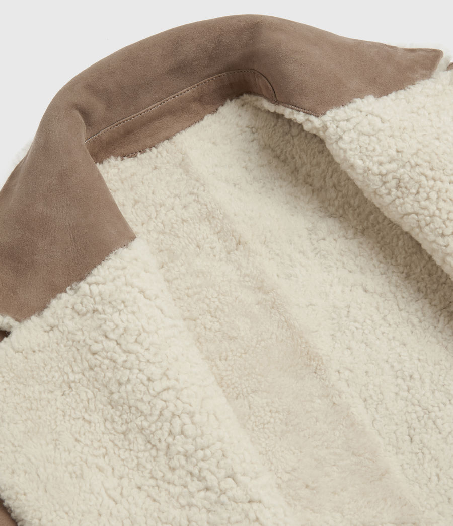 Women's Tia Reversible Shearling Coat (chalk_white_taupe) - Image 10