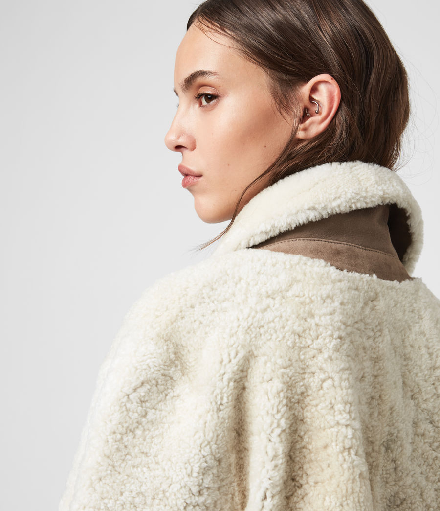 Women's Tia Reversible Shearling Coat (chalk_white_taupe) - Image 2